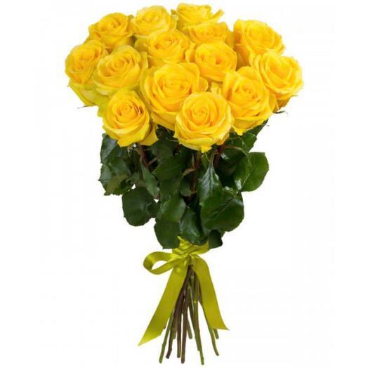 15 желтых роз