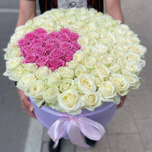 Коробка сердце в розах