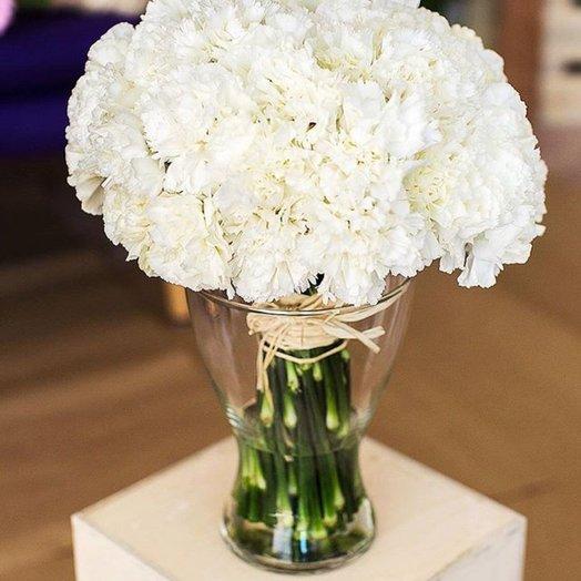Букет из 21 белой гвоздики: букеты цветов на заказ Flowwow