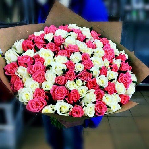 Букет 101 роза белая и розовая: букеты цветов на заказ Flowwow