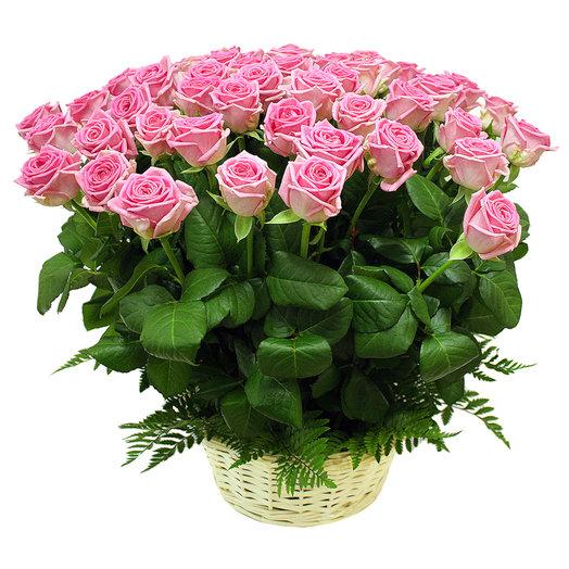 Корзина Наслаждение 51 роза 50 см