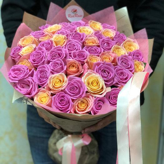 Букет из 51 розы микс аква-пигги: букеты цветов на заказ Flowwow