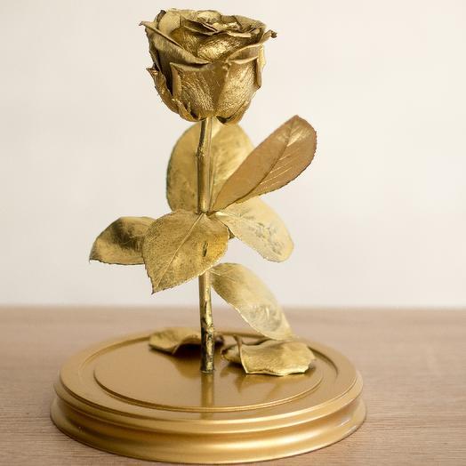 Золотая роза в колбе: букеты цветов на заказ Flowwow
