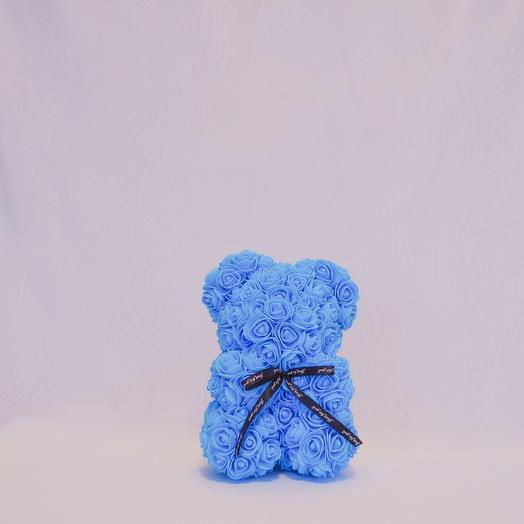 Мишка из роз RozaRose Голубой - 25 см