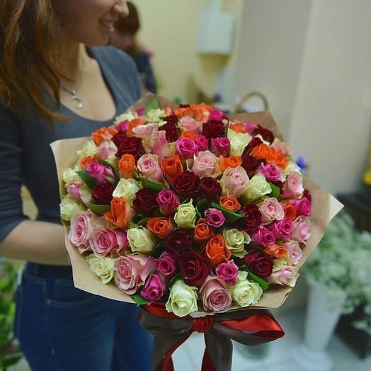 Яркие розы Кенийские микс 101шт