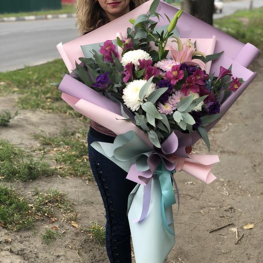 Гигантский букет с эвкалиптом: букеты цветов на заказ Flowwow