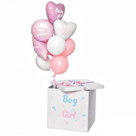 Коробка 5 с воздушными шарами: букеты цветов на заказ Flowwow