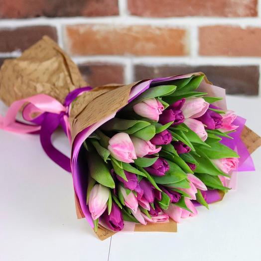 Букет из 25 тюльпанов (микс). N685