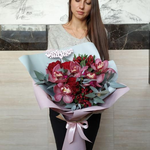 Для любимой мамульки (топпер можно убрать): букеты цветов на заказ Flowwow