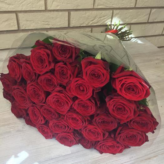 31 красная роза с лентой