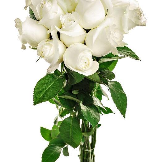 11 белых роз 50 см