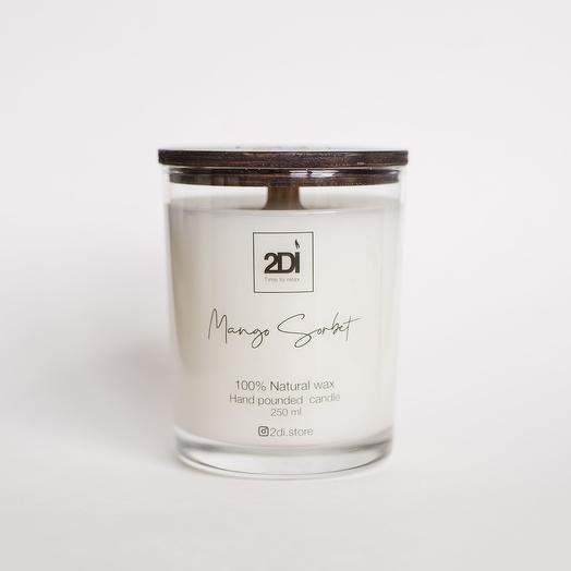 Натуральная аромасвеча ручной работы 250 мл, хлопковый фитиль - Mango Sorbet, Манговый сорбет