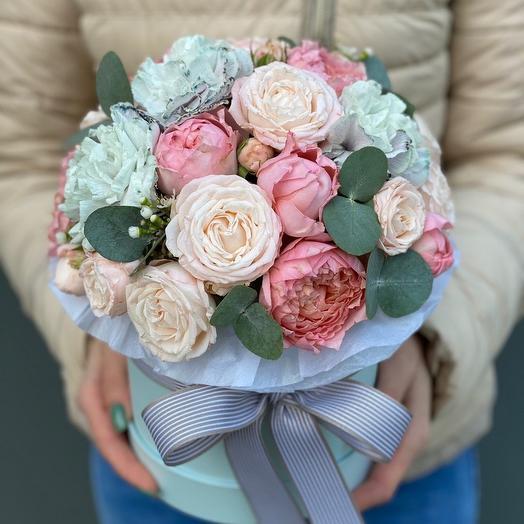 Box of bushy peony roses, Dianthus and eucalyptus Long-awaited date