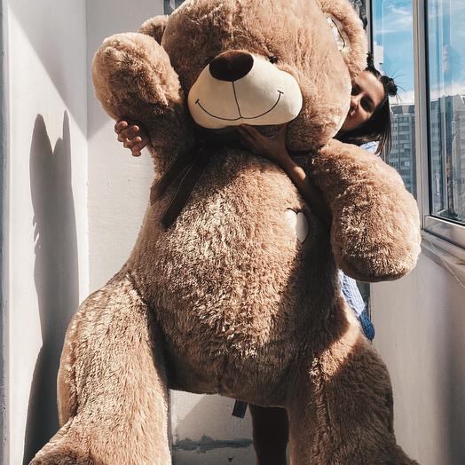 Большой плюшевый медведь кофейный 190 см