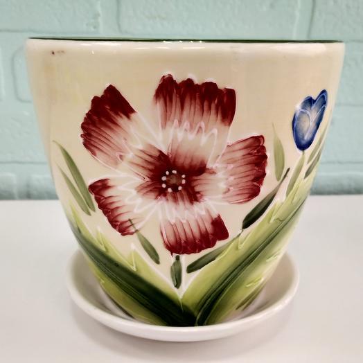 Горшок для цветов керамика аленький цветочек