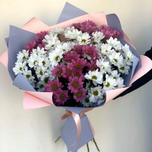 9 кустовых хризантем в упаковке