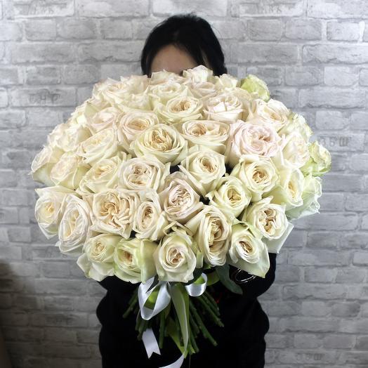 Букет из 51 ароматных роз White O hara