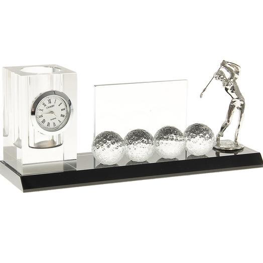 Набор «Гольфист»: часы, визитница, подставка для ручек