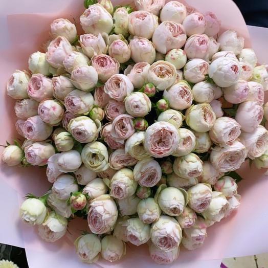 Букет пионовидных кустовых роз Майнсфилд Парк