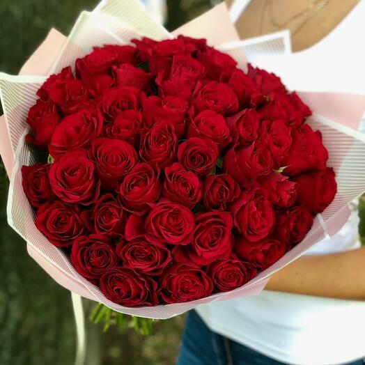 Букет из 51 красной розы 40 см