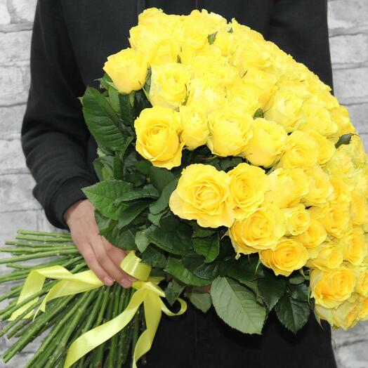 101 желтая роза Премиум