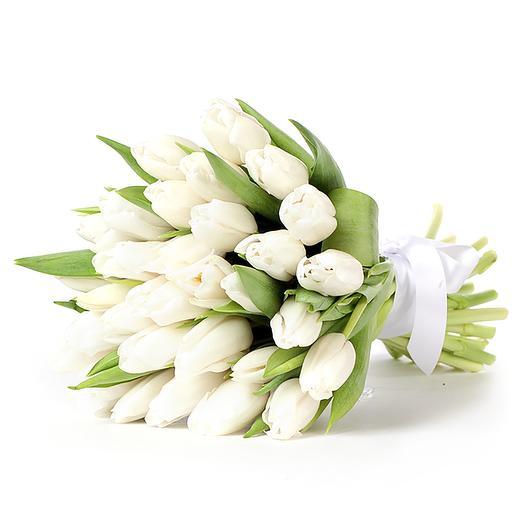 29 белоснежных тюльпанов: букеты цветов на заказ Flowwow