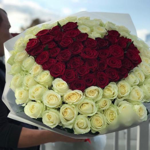 Сердце из 101 розы: букеты цветов на заказ Flowwow