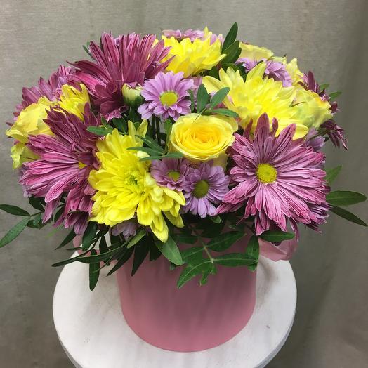 Шляпная коробка «Интрига»: букеты цветов на заказ Flowwow