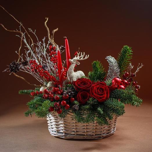 Новогодняя композиция 8: букеты цветов на заказ Flowwow