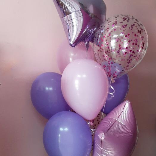 Шары розовые и фиолетовые