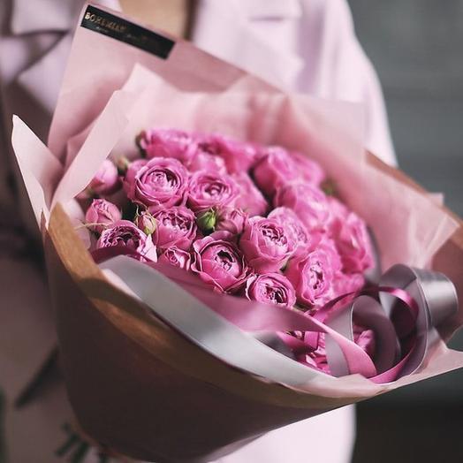 """Малый букет из пионовидных роз """"Мулен Руж"""""""
