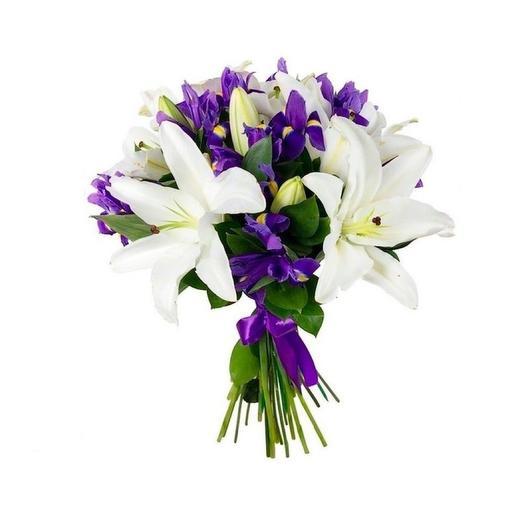 Букет с лилиями и ирисами