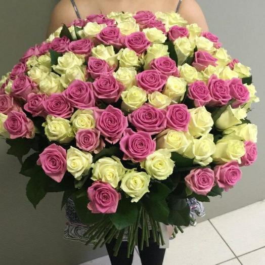 Розово-белая 99: букеты цветов на заказ Flowwow