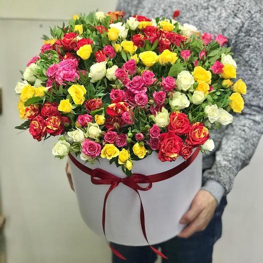Большая коробка кустовых роз микс