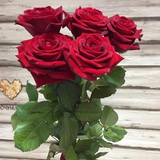 ✅ 5 красных роз Хит