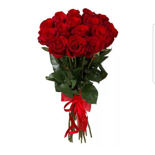 15 высоких красных роз под ленту