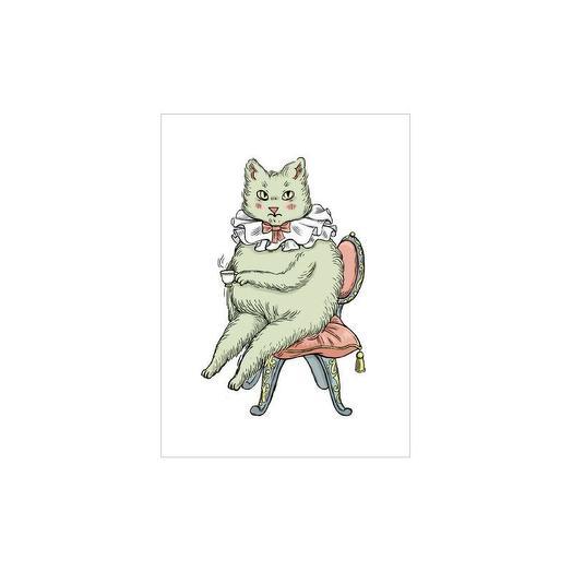 Открытка почтовая Котик с чаем
