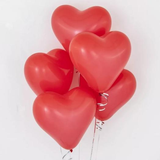 5 гелиевых шаров сердце