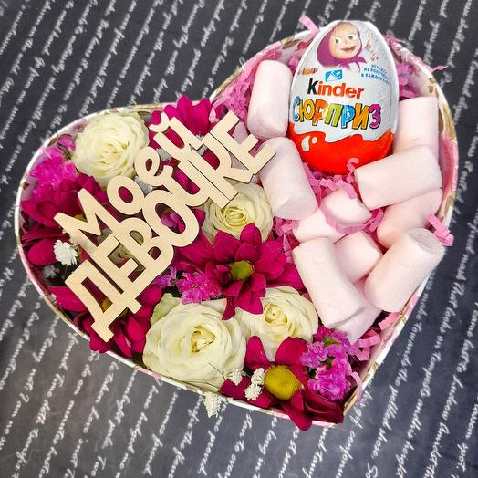 Flowers and sweets in a box