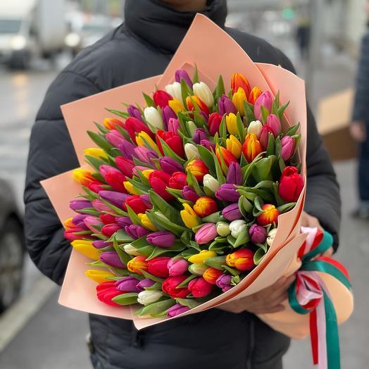 Разноцветные тюльпаны 🌷 на 8 марта