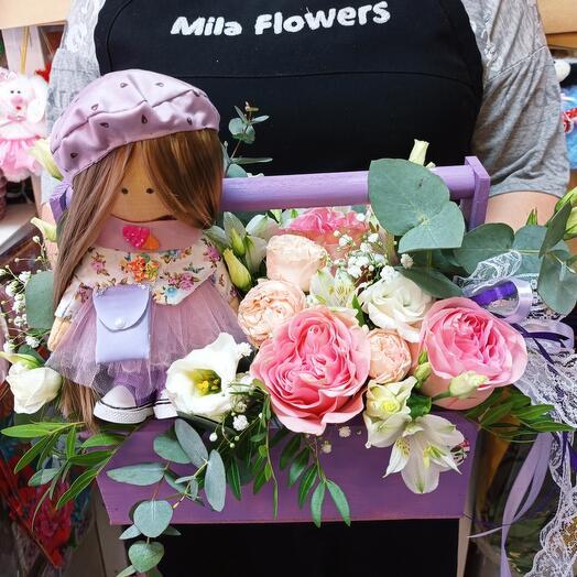 Цветы+кукла(ручная работа)