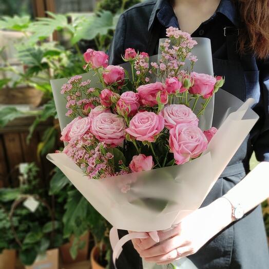 Винтаж (кустовая роза и хамелациум)