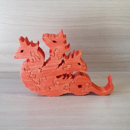 """Деревянный пазл из кедра ручной работы """"Красный трехглавый дракон"""", 12 элементов"""