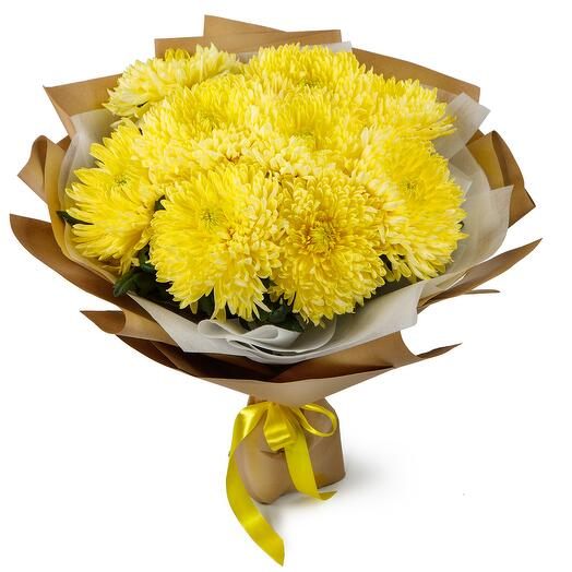 Букет из 9 желтых хризантем Сингл