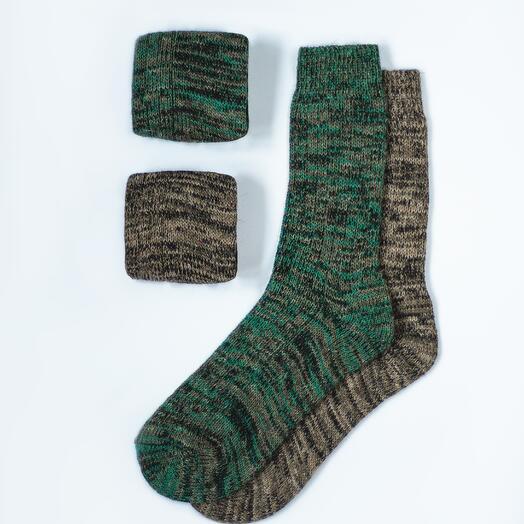 Набор из двух пар шерстяных носков «Изумрудный»
