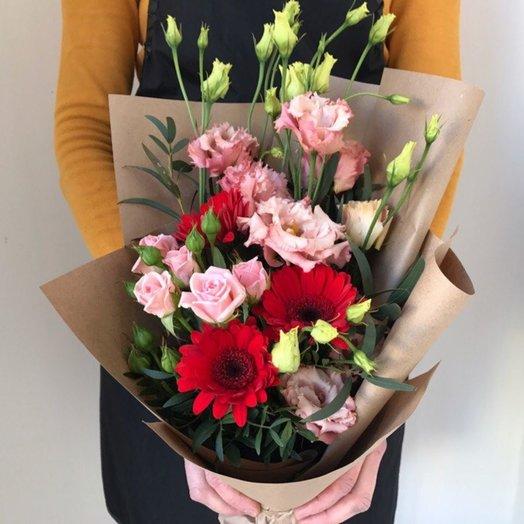 Букет из герберы с эустомой: букеты цветов на заказ Flowwow