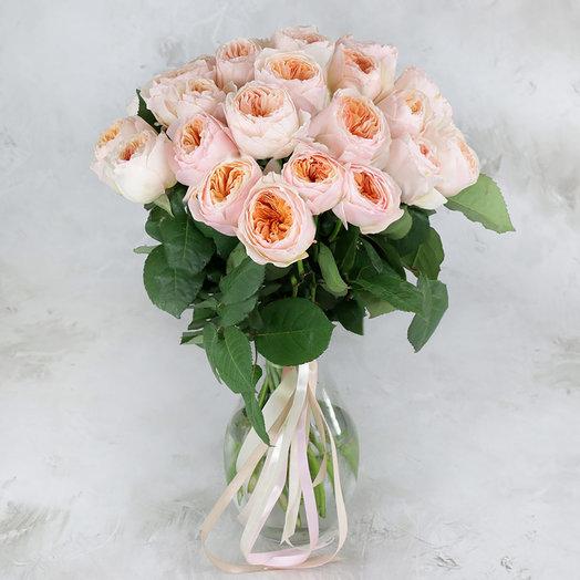 Букет из 25 персиковых пионовидных роз: букеты цветов на заказ Flowwow