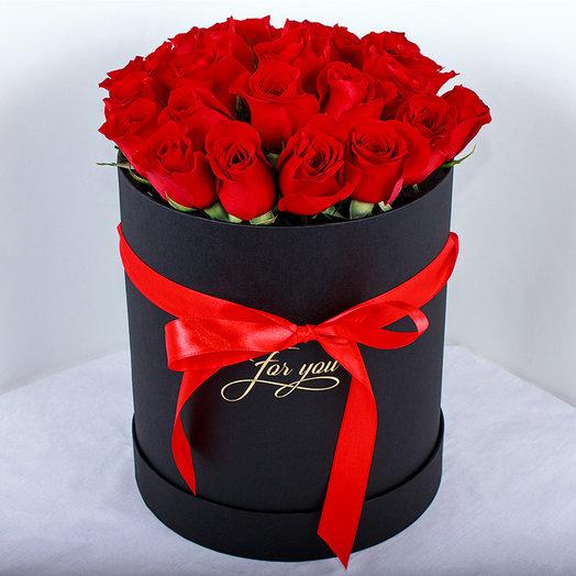 Коробка из 21-ой красной розы