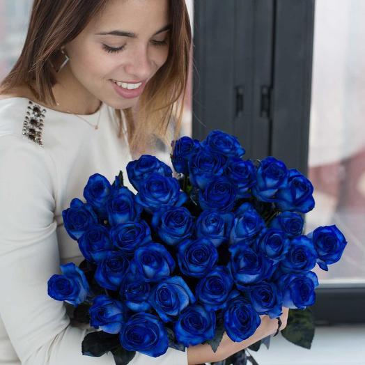Букет из 35 синих роз: букеты цветов на заказ Flowwow