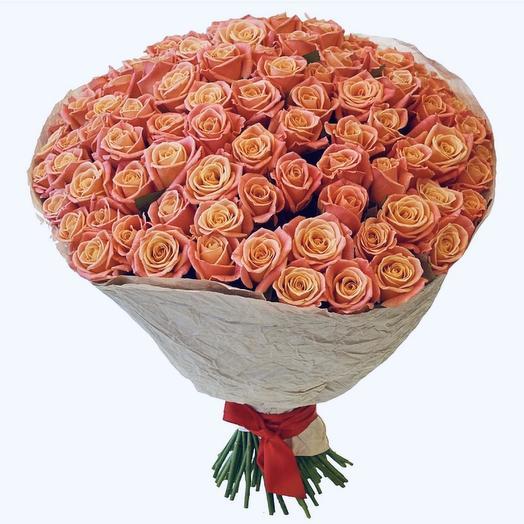 101 розочка Мисс Пигги в крафте: букеты цветов на заказ Flowwow